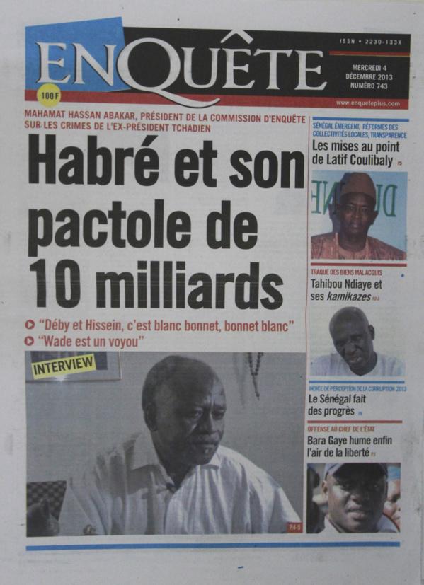 A la Une du Journal EnQuête du mercredi 04 Décembre 2013