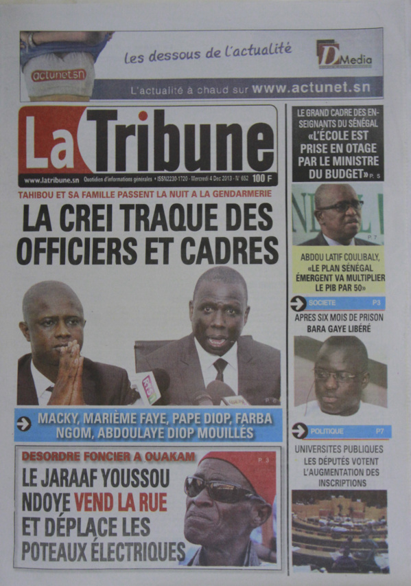 A la Une du Journal La Tribune du mercredi 04 Décembre 2013