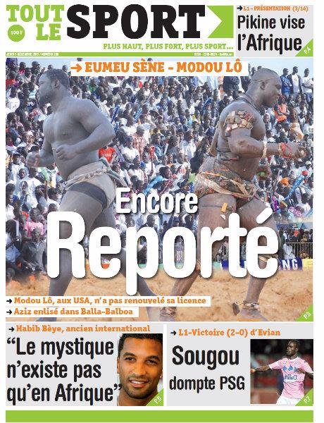 A la Une du Journal Tout Le Sport du Jeudi 05 Décembre 2013