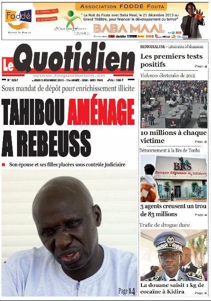 A la Une du Journal Le Quotidien du Jeudi 05 Décembre 2013