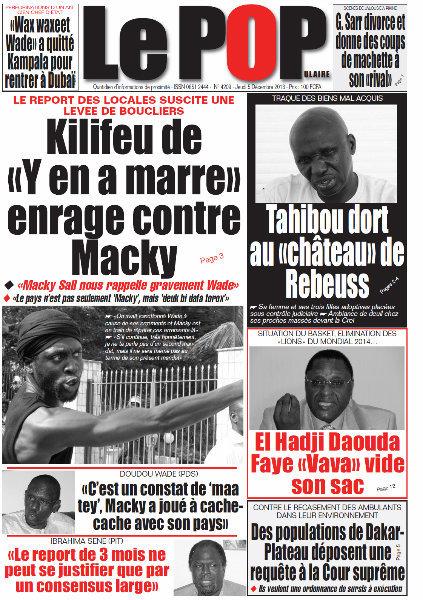 A la Une du Journal Le Populaire du Jeudi 05 Décembre 2013