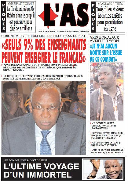 A la Une du Journal L'As du vendredi 06 Décembre 2013
