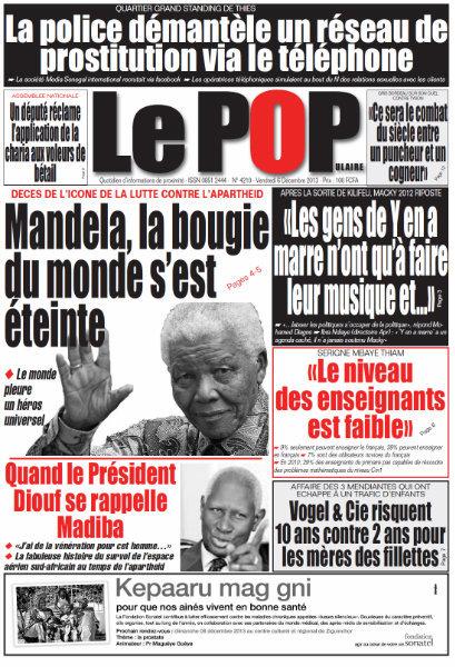 A la Une du Journal Le Populaire du vendredi 06 Décembre 2013