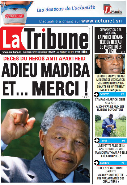 A la Une du Journal La Tribune du vendredi 06 Décembre 2013