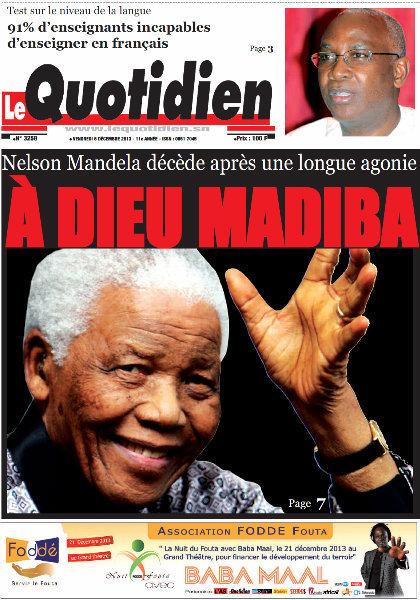 A la Une du Journal Le Quotidien du vendredi 06 Décembre 2013