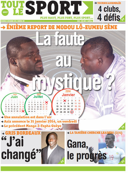 A la Une du Journal Tout Le Sport du vendredi 06 Décembre 2013