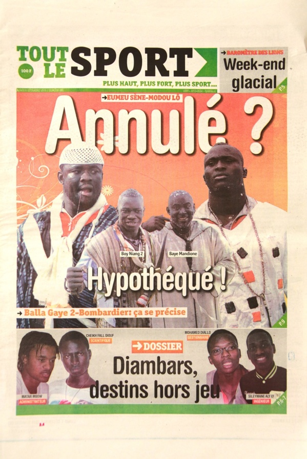 A la Une du Journal Tout Le Sport du lundi 09 Décembre 2013