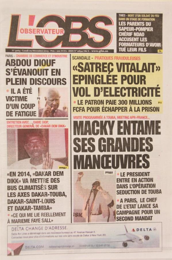 A la Une du Journal L'Observateur du lundi 09 Décembre 2013