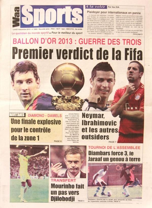 A la Une du Journal Waa Sports du lundi 09 Décembre 2013
