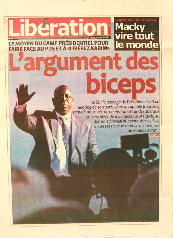 A la Une du Journal Libération du lundi 09 Décembre 2013