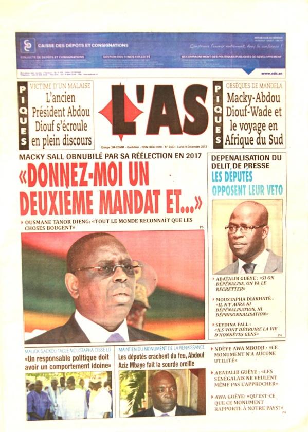 A la Une du Journal L'As du lundi 09 Décembre 2013
