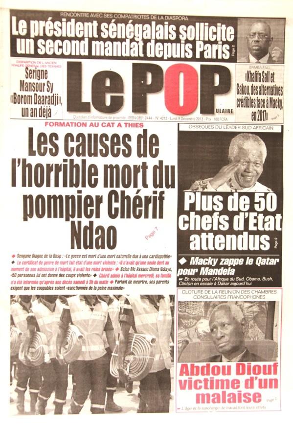 A la Une du Journal Le Populaire du lundi 09 Décembre 2013