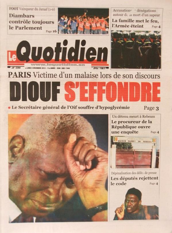 A la Une du Journal Le Quotidien du lundi 09 Décembre 2013