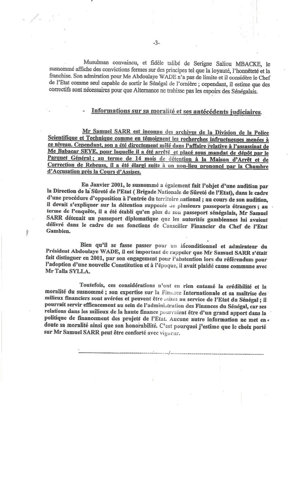 [Exclusif! Documents] Enquête sur les biens mal acquis: Et si Macky decide de témoigner pour Samuel Sarr!
