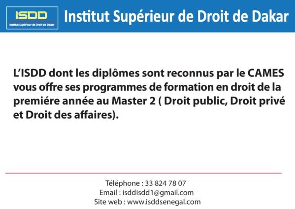 ISDD : Institut Supérieur de Droit de Dakar