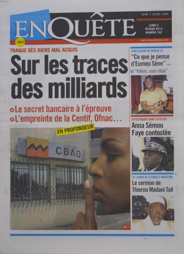 A la Une des Journaux en images du lundi 03 février 2014