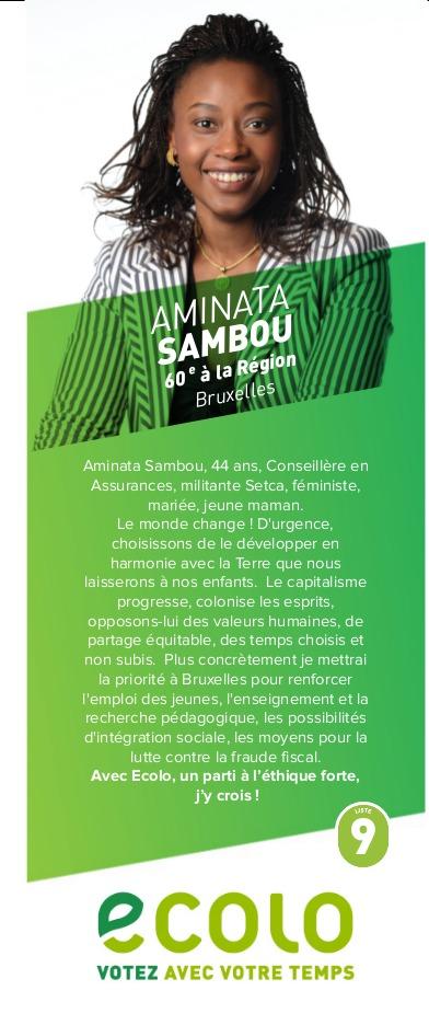 Belgique : Investie sur la liste Ecolo à la Région de Bruxelles, la Belgo-sénégalaise Aminata Sambou décline ses priorités