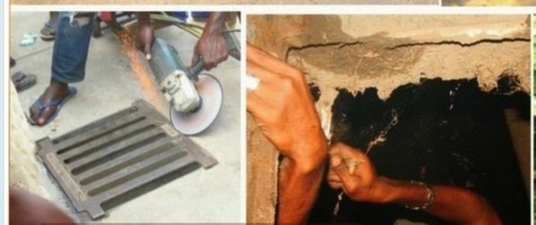 (5) Photos choquantes – Nigéria : Une présumée sorcière se change en un oiseau et reste coincée sous un drainage à Lagos… Regardez