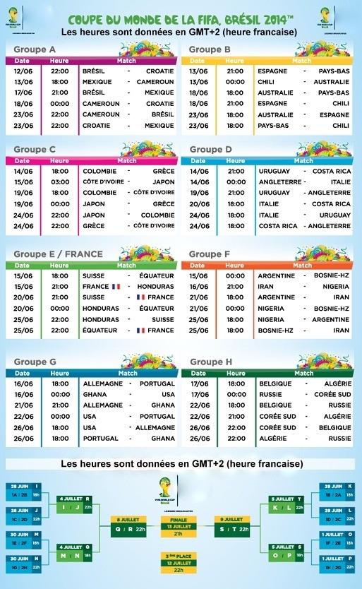 CM 2014 : le calendrier des matchs