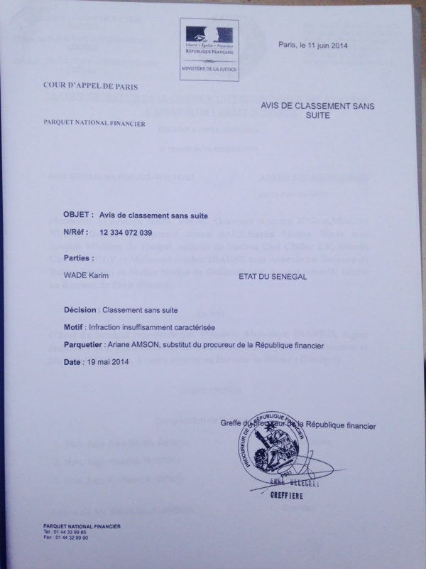 Document - Affaire Karim Wade : La justice française classe sans suite la plainte du Sénégal à Paris