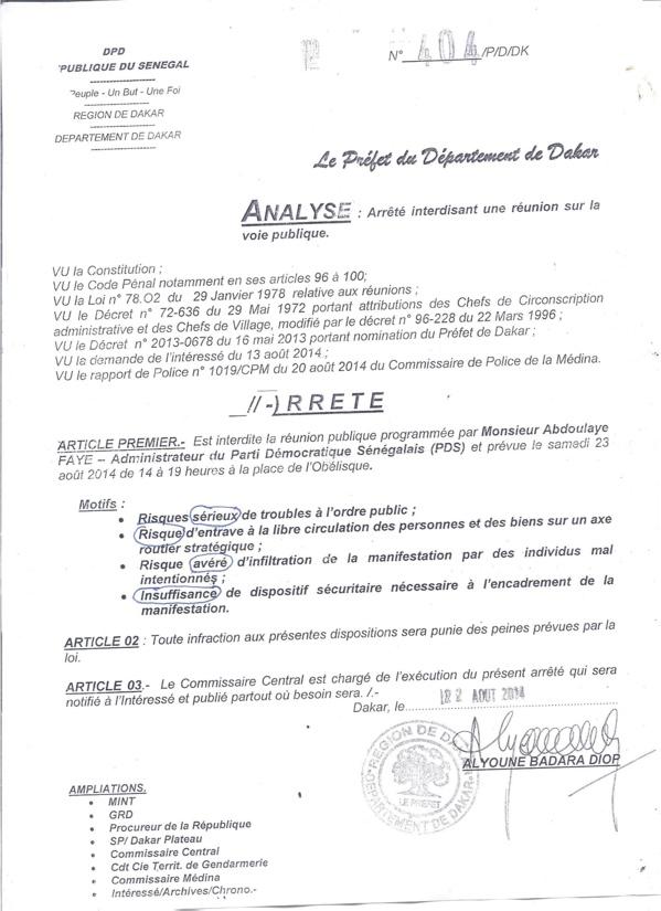 L'arrêté du préfet de Dakar interdisant la manifestation de l'opposition
