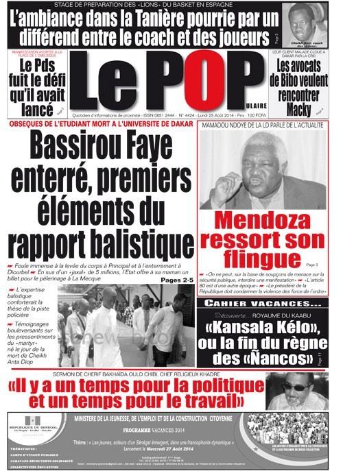 A la Une du Journal Le Populaire du mardi 26 aout 2014