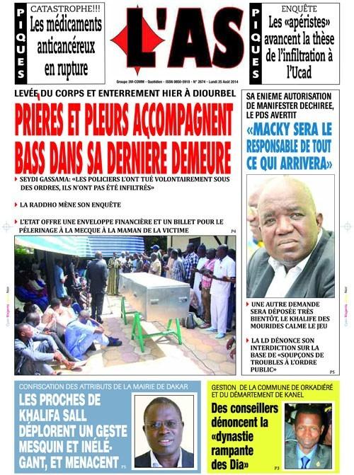 A la Une du Journal L'As du mardi 26 aout 2014