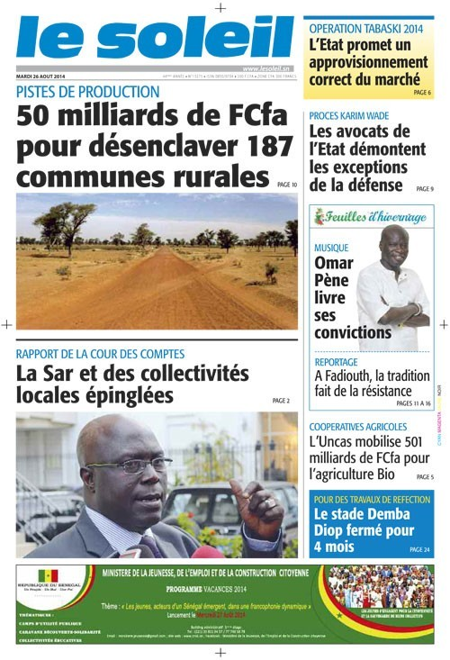 A la Une du Journal Le Soleil du mardi 26 aout 2014