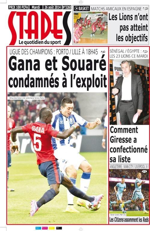 A la Une du Journal Stades du mardi 26 aout 2014