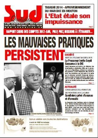 A la Une du Journal Sud Quotidien du mardi 26 aout 2014