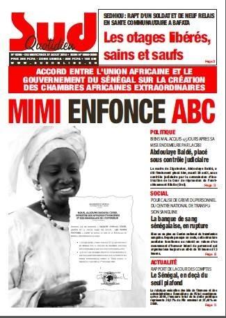 A la Une du Journal Sud Quotidien du mercredi 27 aout 2014