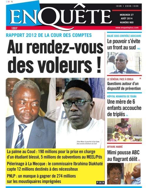 A la Une du Journal EnQuête du mercredi 27 aout 2014
