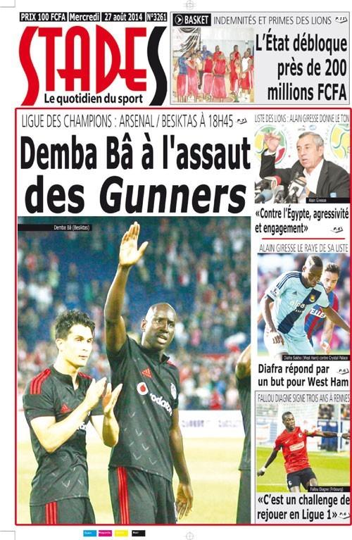 A la Une du Journal Stades du mercredi 27 aout 2014