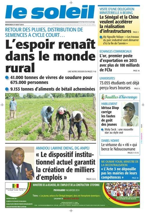 A la Une du Journal Le Soleil du mercredi 27 aout 2014