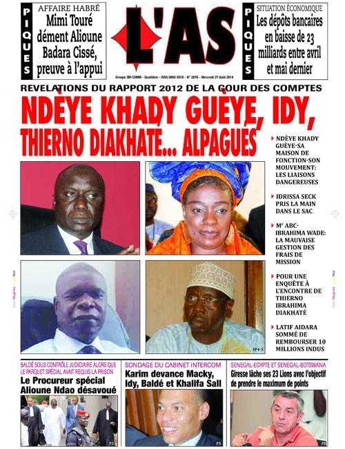 A la Une du Journal L'As du mercredi 27 aout 2014