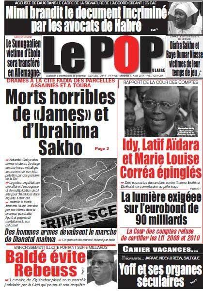 A la Une du Journal Le Populaire du mercredi 27 aout 2014