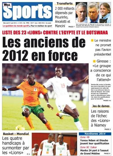 A la Une du Journal Waa Sports du mercredi 27 aout 2014