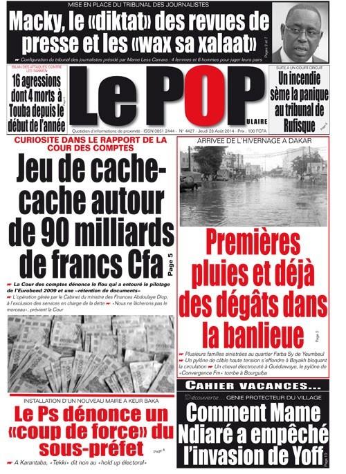 A la Une du Journal Le Populaire du jeudi 28 août 2014