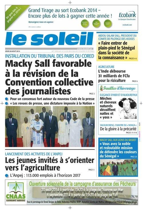 A la Une du Journal Le Soleil du jeudi 28 août 2014