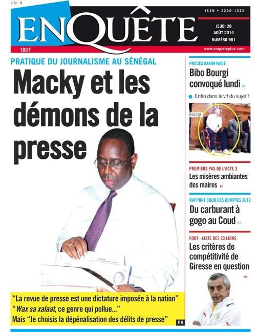 A la Une du Journal EnQuête du jeudi 28 août 2014