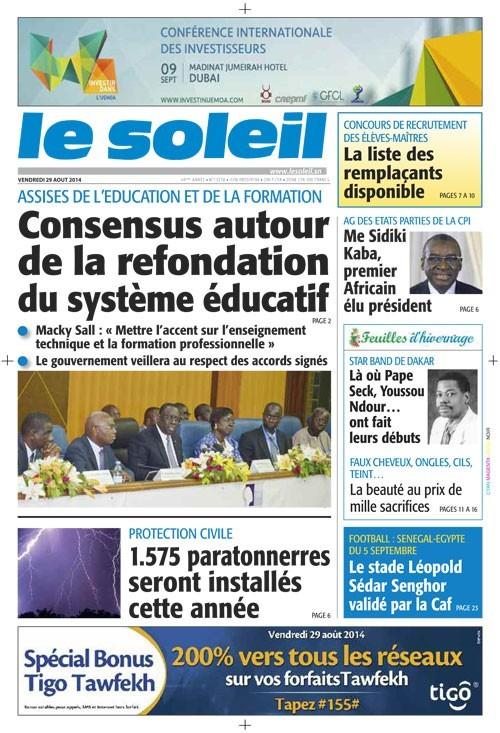A la Une du Journal Le Soleil du vendredi 29 août 2014
