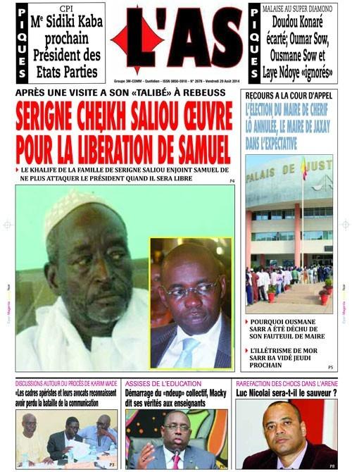 A la Une du Journal L'As du vendredi 29 août 2014