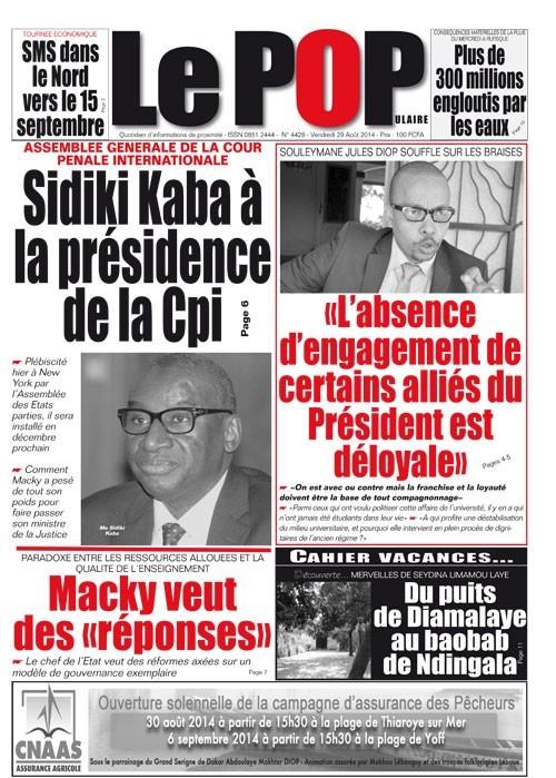 A la Une du Journal Le Populaire du vendredi 29 août 2014