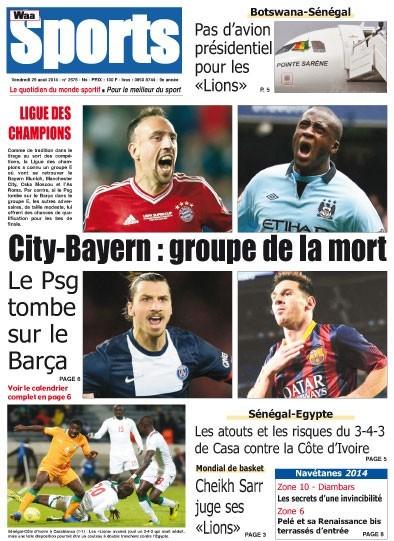 A la Une du Journal Waa Sports du vendredi 29 août 2014