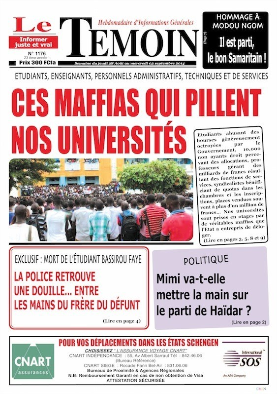 A la Une du Journal Le Témoin du vendredi 29 août 2014