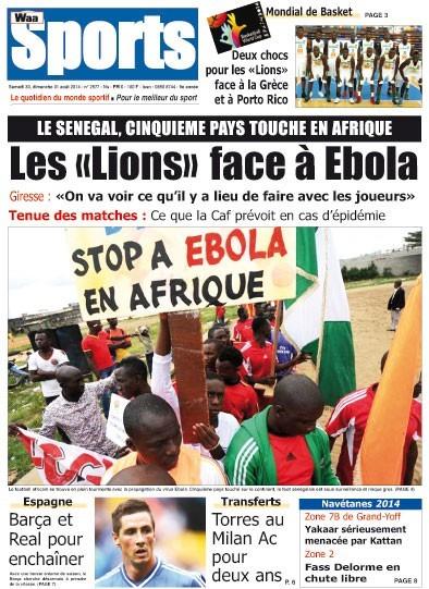 A la Une du Journal Waa Sports du samedi 30 août 2014