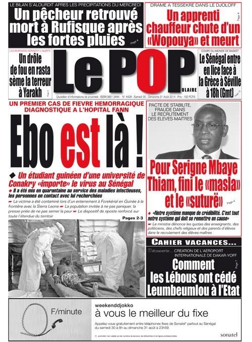 A la Une du Journal Le Populaire du samedi 30 août 2014