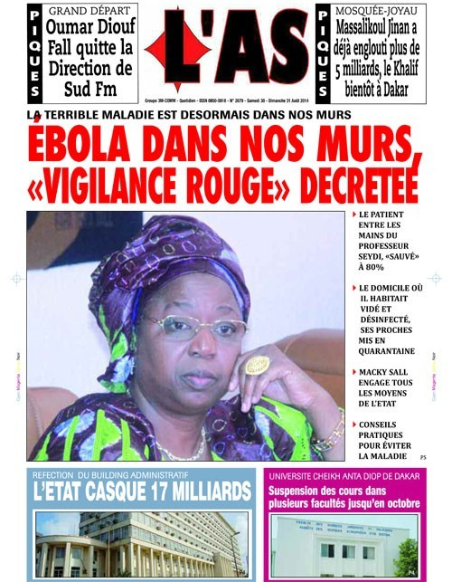 A la Une du Journal L'As du samedi 30 août 2014