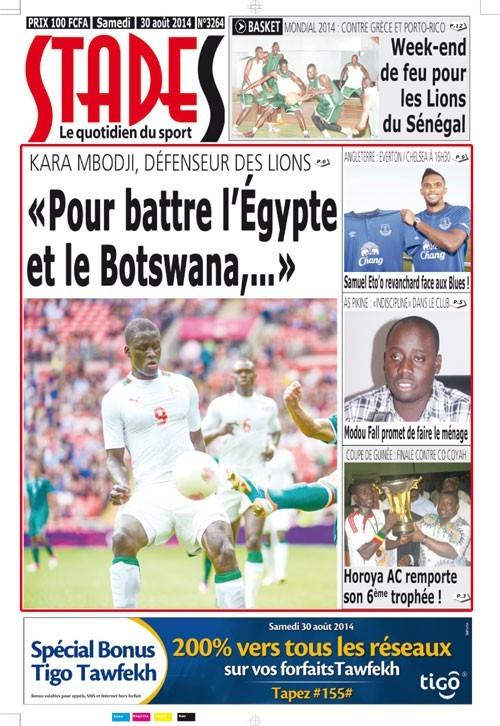 A la Une du Journal Stades du samedi 30 août 2014