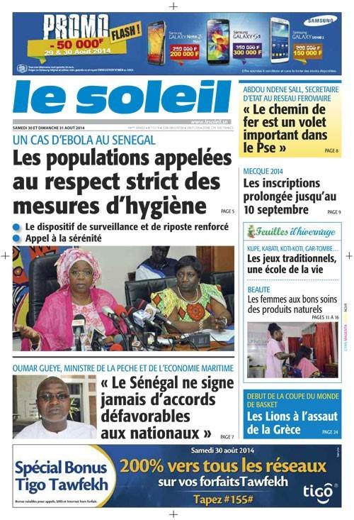 A la Une du Journal Le Soleil du samedi 30 août 2014